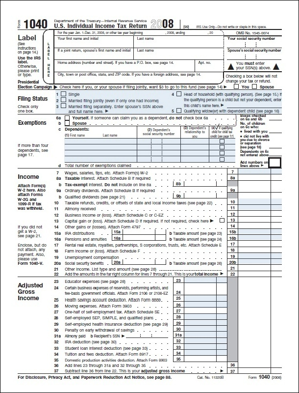 Form1040usindividualincometaxreturnformimage Chips Journey