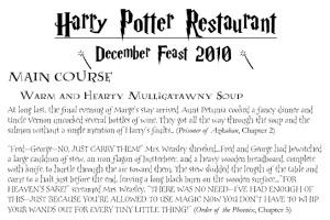 Harry Potter menu