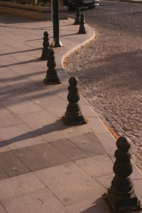 A line of black pawns