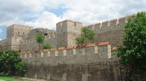 Theodosian Walls at the Selymbria Gate, showing outer walls, inner walls, &  moat wall