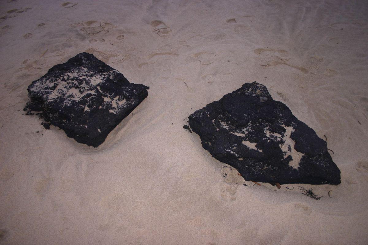 Asphalt chunks from former parking area