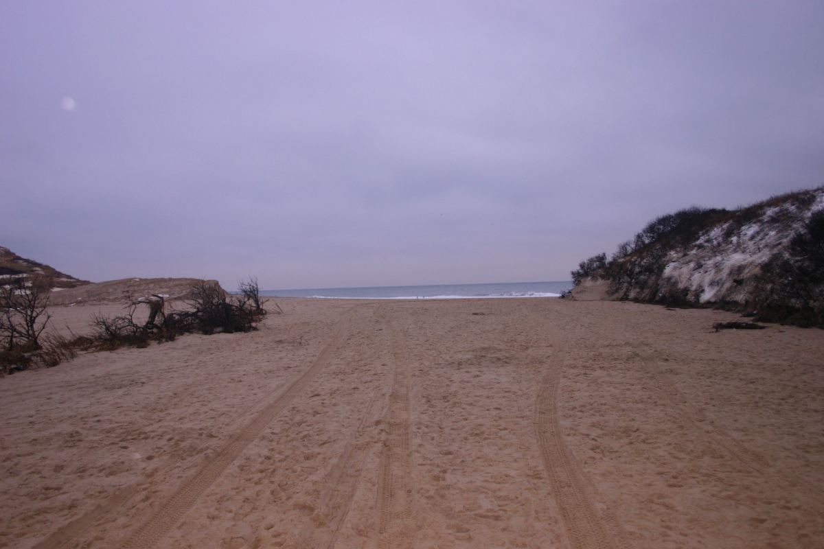 Newly scoured beach; missing dune