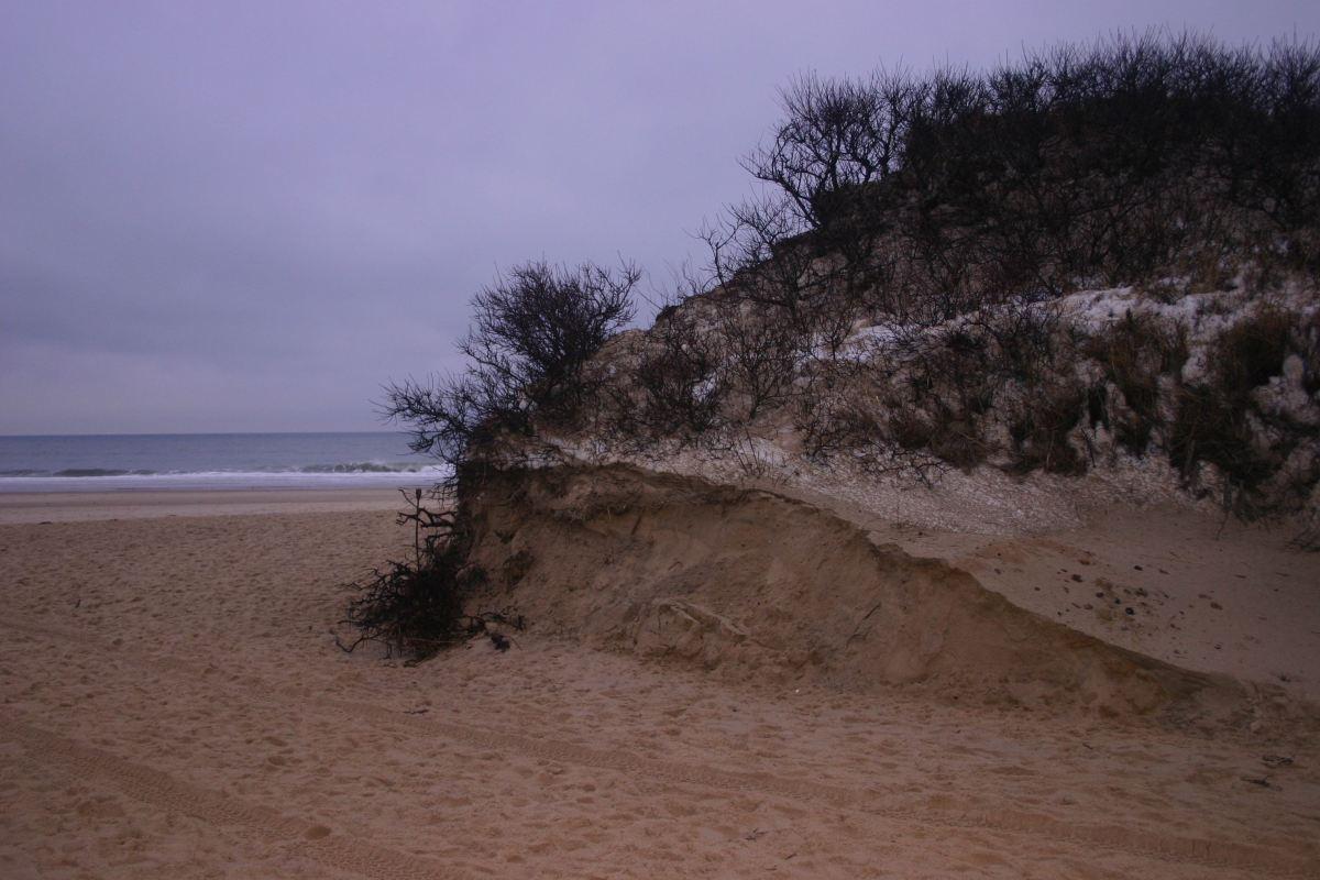 Tide carves new beach