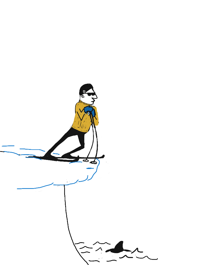 Skiing on the backside