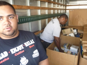 Filling gaylords with books, 500 pounds each