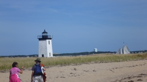 Long Point lighthouse, with Hindu boat in the background