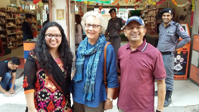 Jasna, Susan, and Nama outside a Chinese restaurant in Lazimpat, Kathmandu