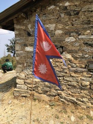 Nepal flag at the top of Shivapuri