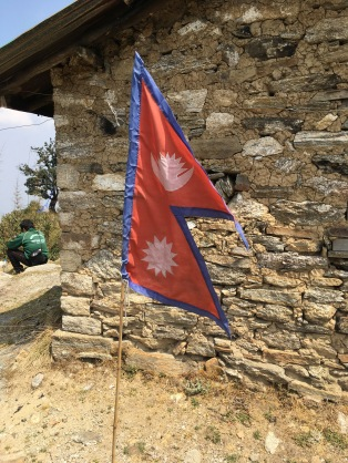 Nepal flag at the top of Shivapuri