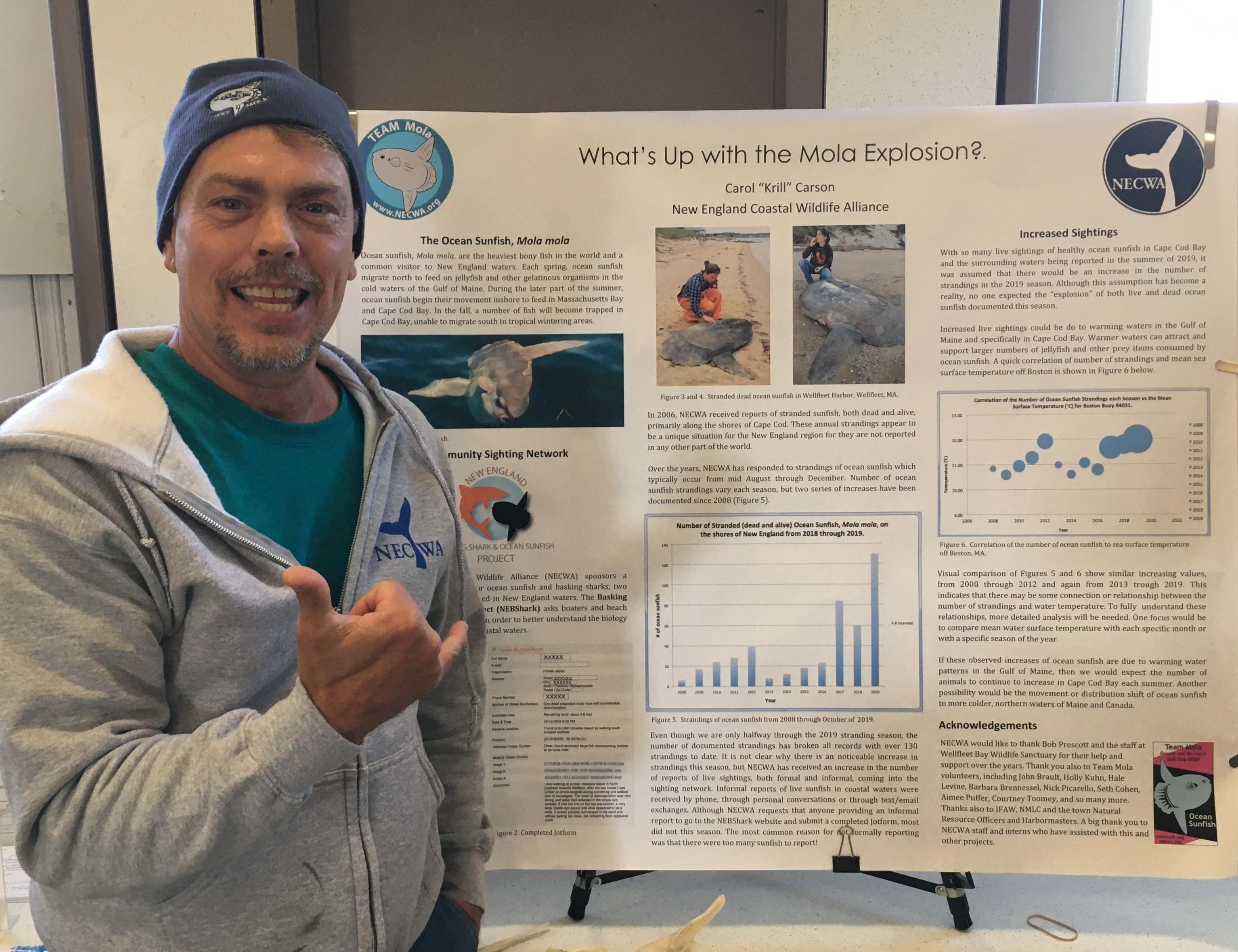 John Brault with Krill Carson's poster on the Mola explosion