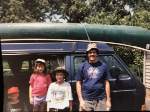 Off to canoe on the Sangamon RIver, 1992